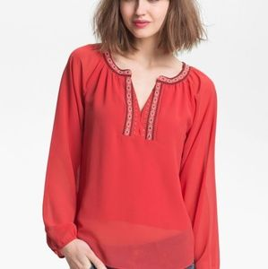 SANCTUARY Red Embriodered Bib Bohemian Blouse